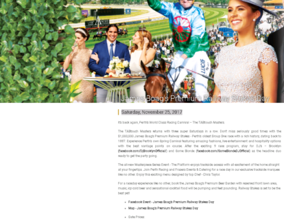2 x James Boag's Premium Railway Stakes Day tickets 25th NOVEMBER