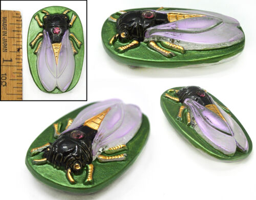 40mm Vintage Czech Focal SCARAB Green CICADA w/Frosted Lilac Wings Glass Button