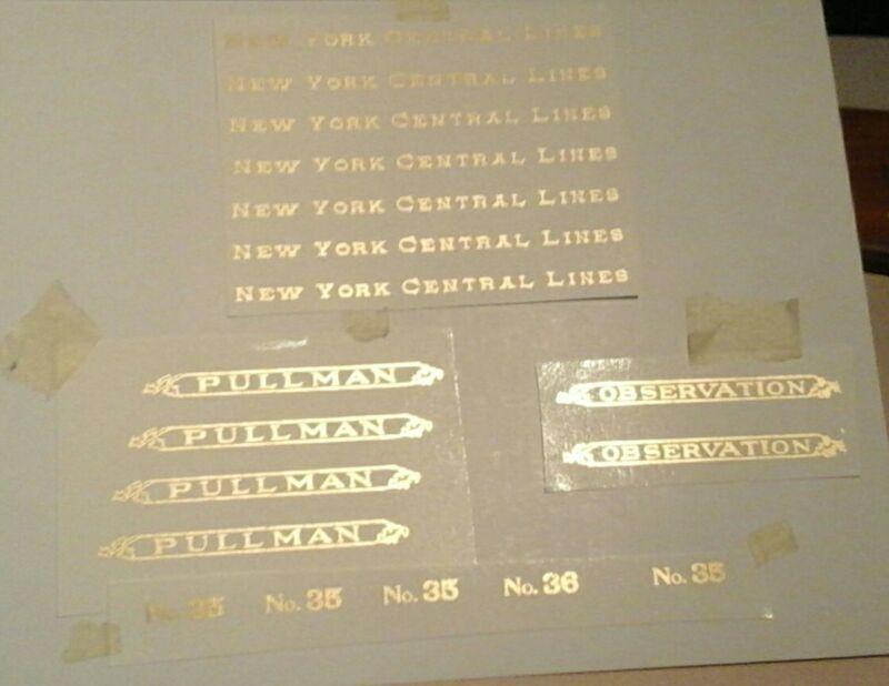 LIONEL PRE-WAR STANDARD SCALE 35-35-36 GOLD METALLIC WATER DECAL PASS W/SERIFS