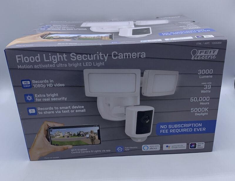 Feit Electric LED Dual Head Motion Sensor Floodlight w/ Security Camera NEW
