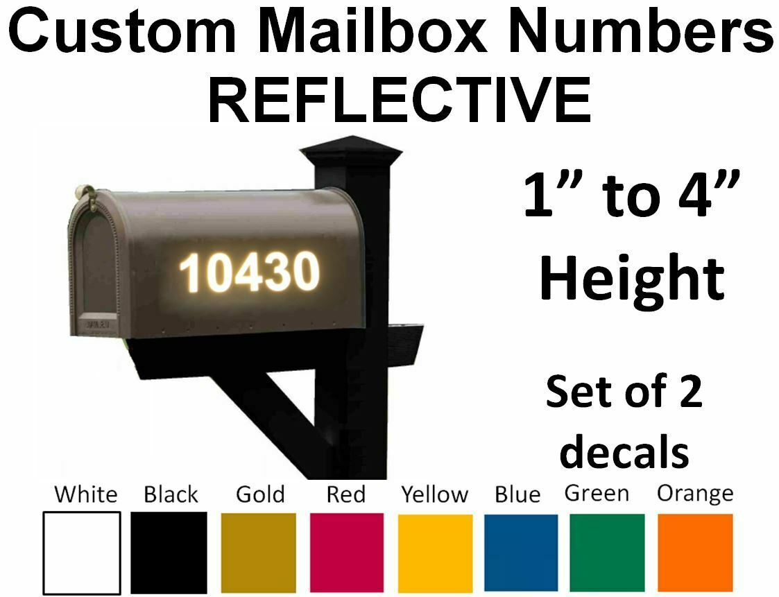 Home Decoration -  SET OF 2 - Custom Mailbox Numbers REFLECTIVE Vinyl Decals Stickers House