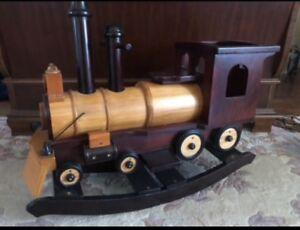 Vintage wooden rocking train