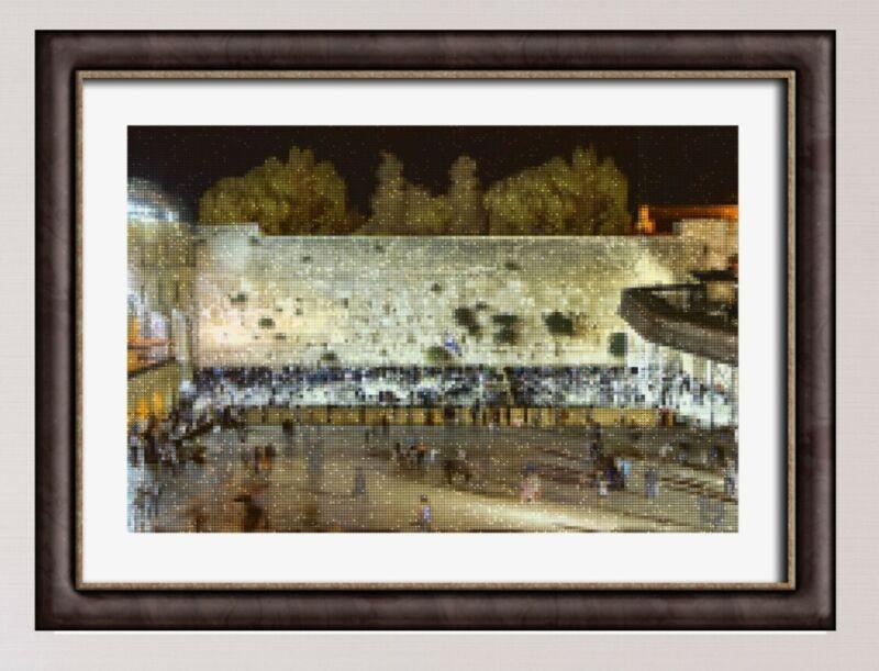 Kotel/Kosel Jerusalem Art Judaica Diamond Painting - Night Scene Original Photo