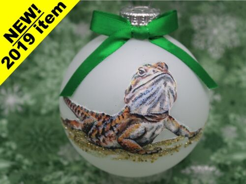 E025 Hand-made Christmas Ornament - exotic pet reptile bearded dragon -tan brown