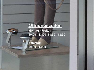 Öffnungszeiten Aufkleber Schild Tür Schaufenster Laden Geschäftszeiten Text frei
