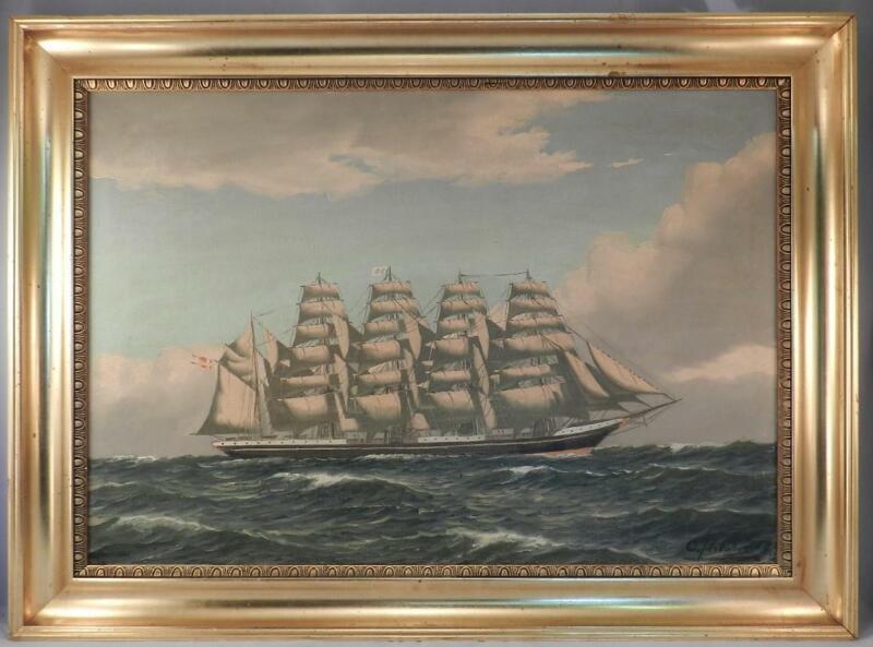 Large Vintage Oil Painting~4 Mast Schooner~Nautical Seascape~Sailboat~Signed