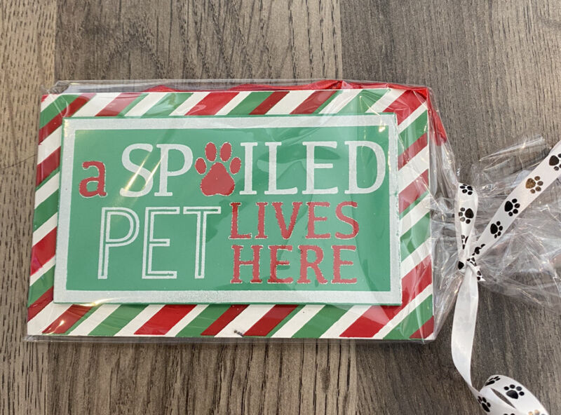 A Spoiled Pet Lives Here Holiday Wooden Christmas Ornament