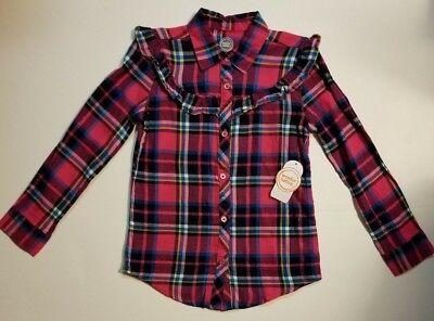 Wonder Nation Girls Ruffle Flannel Shirt Pink Multicolor Plaid XS S M XL NWT