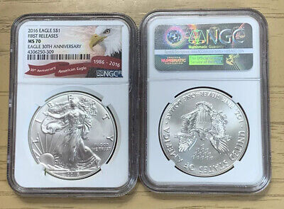1- 2016 Eagle S$1 NGC MS70 First Release 30th Anniversary