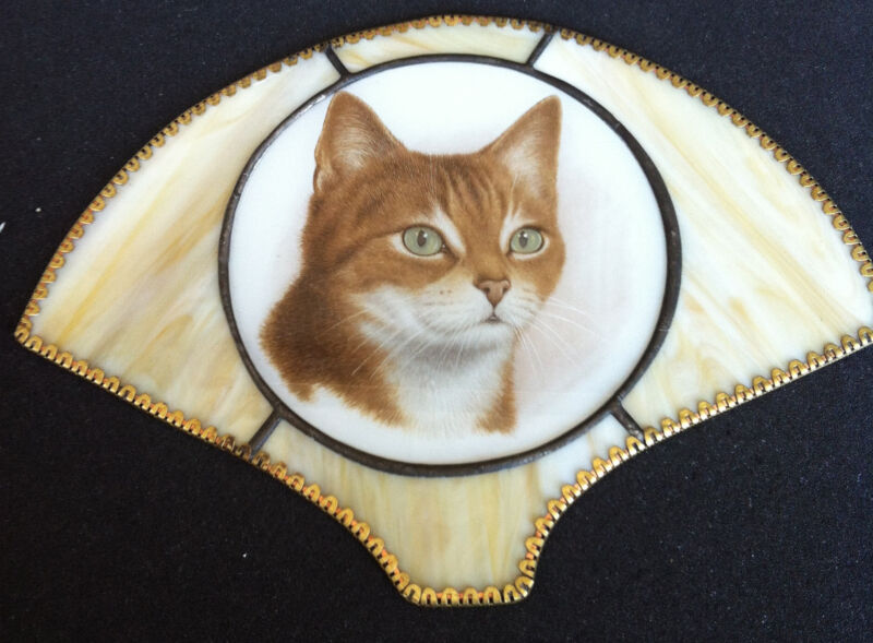 Beautiful Cat Picture on Leaded Glass Wall Hanger