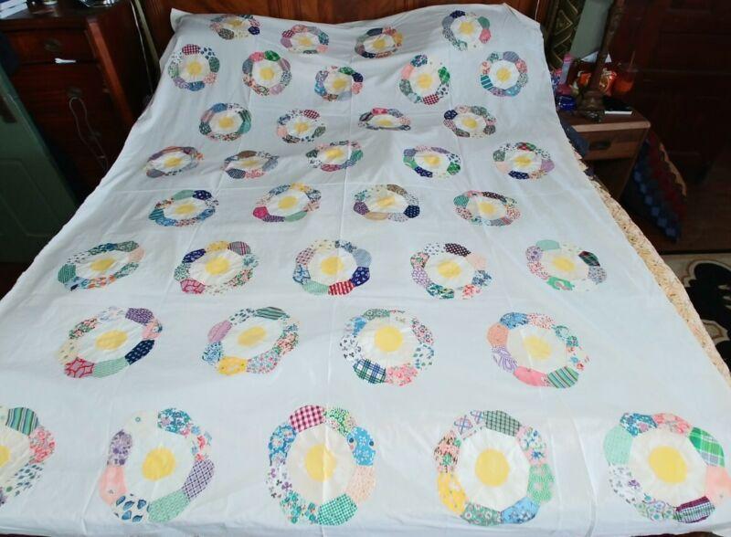 "Vintage/Antique Quilt Top Dresden Plate Feed Sacks Florals 73"" x 93"""