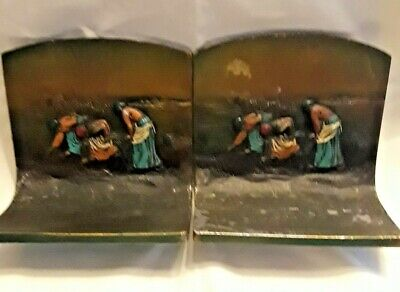Vintage Bronze K & O Bookends - Farm Workers