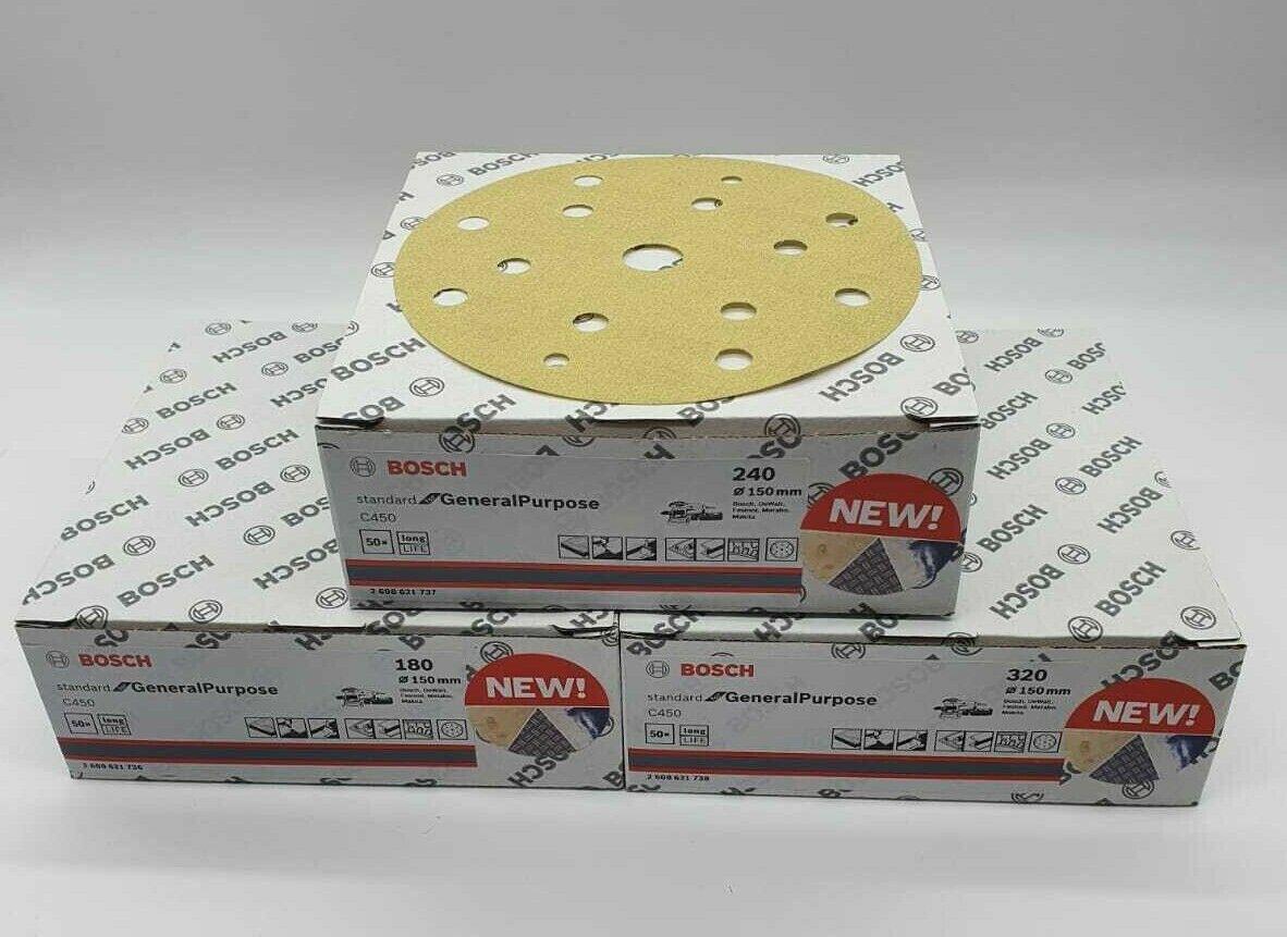 Bosch C450 Schleifscheiben Schleifpapier Loch Klett Exzenter 150mm 50 Stück