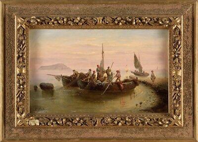 Picture Painting Oil / Lwd. Signed Pinto Ferdinando -italienisches Fischervolk