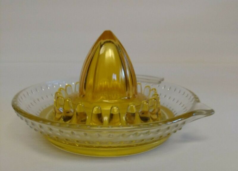 Vintage Glass Hobnail Citrus Juicer Reamer Arc Made in France Yellow Clear Glass