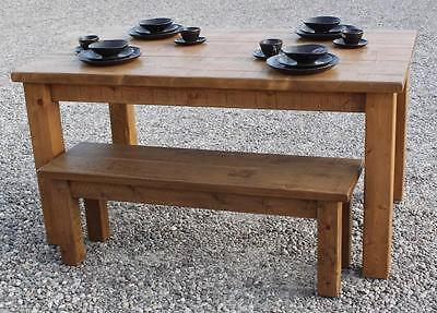 (any size made) SOLID WOOD DINING TABLE AND BENCHES SET CHUNKY RUSTIC PLANK PINE