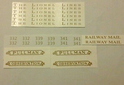 GOLD WATERSLIDE DECAL: LIONEL STANDARD SCALE 332-339-341 PASSENGER CAR SET LOOK