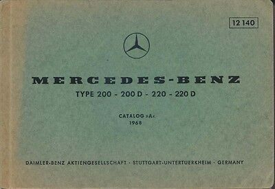 Mercedes Benz 200 200D 220 220D Saloon 1968 Original Spare Parts List