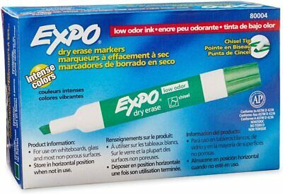 Expo Chisel Dry Erase Markers For Whiteboards 80004 Green 12 Count