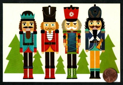 CHRISTMAS Nutcrackers Trees Hats - GOLD SHINE  - Christmas Greeting Card - NEW
