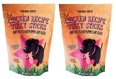 Trader Joe's Chicken Recipe Jerky Sticks Treats For Puppies And Dogs, 2 Bags