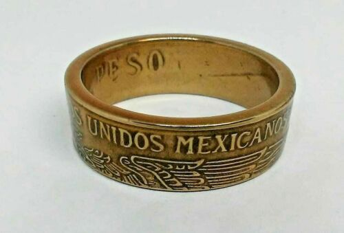 Powder coated translucent  gold Coin ring made from MEXICAN PESO in size 7-14