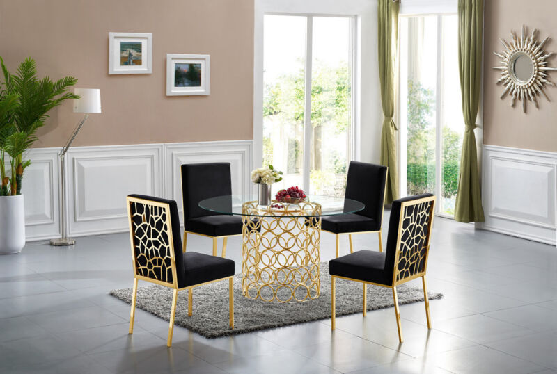 "Zariya Modern 54"" Round Dining Table Set W/geometric Ring Base In Gold Finish"