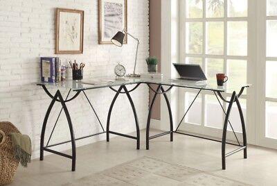 L-shaped Black Frosted Glass/Metal Corner Desk