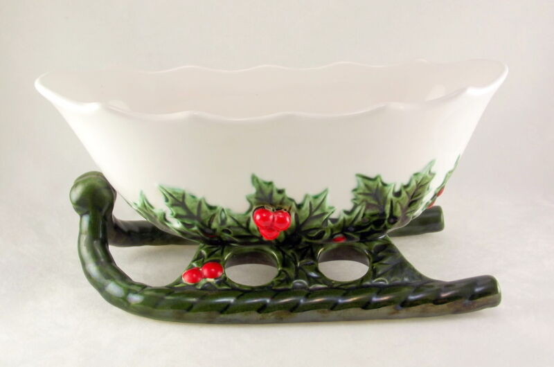 Lefton 1408 Porcelain Holly Berry Sleigh Planter Candy Dish Green White Vintage