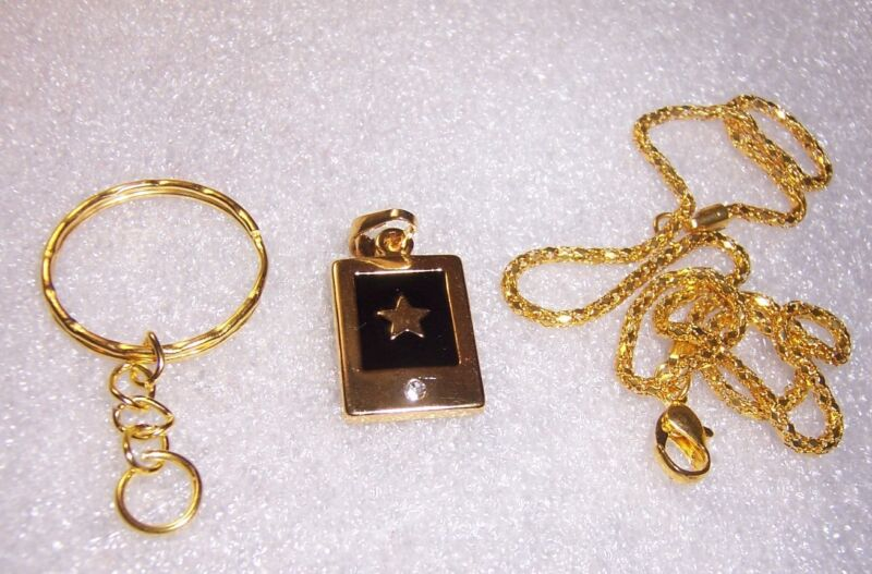 "Gold Star Pendant / Charm  with 16"" GP Chain and Key Ring Option. Free Shipping."