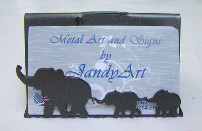 Decorative Metal Business Card Display Holder For Desktable With Elephants
