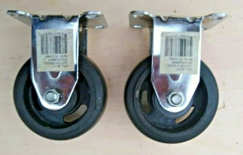 "Castor 4"" Rigid Iron /Rubber  Wheels Sku#38707 Set of 2"