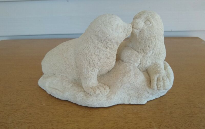 """""""Sealed with a Kiss"""" Pair Of White Seals By United Design Corp. (UDC) 1992"""