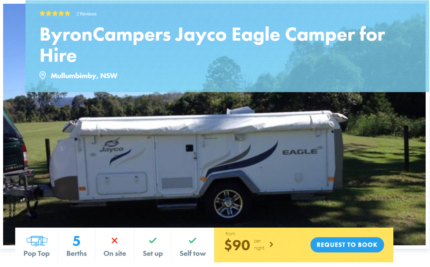 5 Berth Pop Top FOR HIRE in Mullumbimby from $90/night