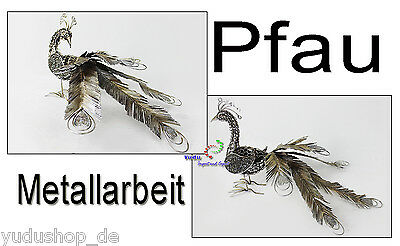 Pfau Kunsthandwerk Dekoration Metallarbeit mit Federkrone