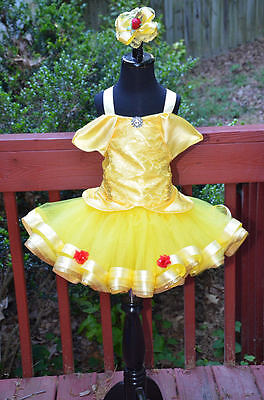 Belle inspired tutu dress costume and rose bud hair bow (yellow/red) (Bell Tutu)