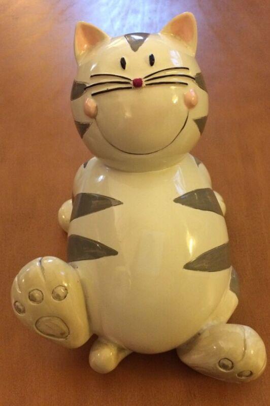 Laid Back Ceramic Porcelain Cat Coin Bank