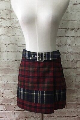 HONEY BELLE Mini Skirt Size Small A-Line Wool Blend Leather Lined Plaid NEW