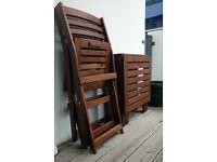 Ikea ÄPPLARÖ Table+2 folding chairs, outdoor furniture
