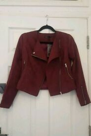 Petite Burgundy Biker Jacket