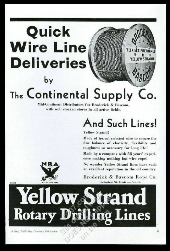 1934 Yellow Strand oil well derrick rotary drilling lines vintage trade print ad