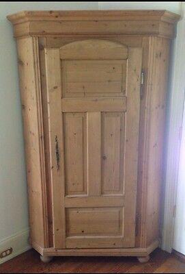 * Antique Pine Farm Corner Armoire Storage Cabinet ()