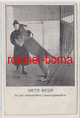 75735 Ak Linette Wieser bis jetzt unübertroffene Löwenringkämpferin 1910