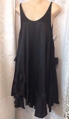 Stella McCartney Dress Black Tank Full Cut Ruffles Size 36