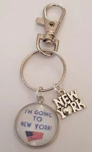 I'm going to New York! Holiday Surprise Keyring Bag Charm Gift Voucher Tag