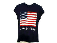 NY design print t-shirt with stretchy navy material £5