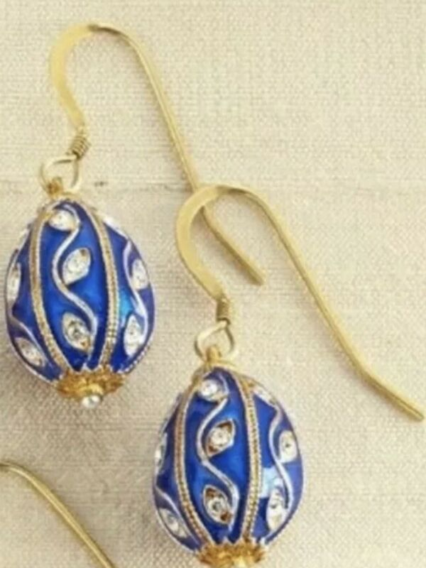 Faberge Egg Earrings w/Swarovski Crystals Gold Plate Sterling BLUE New US Made