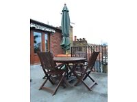 THIS WEEKEND! Sturdy wooden garden furniture - table, 4 chairs, parasol & base