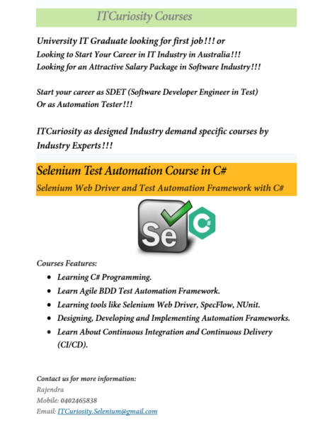 Selenium Test Automation Courses By ITCuriosity | Courses