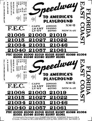 "Florida East Coast  FEC ""Speedway to America's Playground"" boxcar S-scale decals"